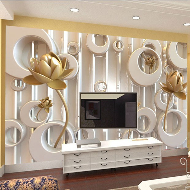 3D Wall Mural Stereoscopic Golden Lotus Ring Cycle Custom Modern Luxury Creative Wallpaper TV Backdrop Mural Wall Paper For Wall