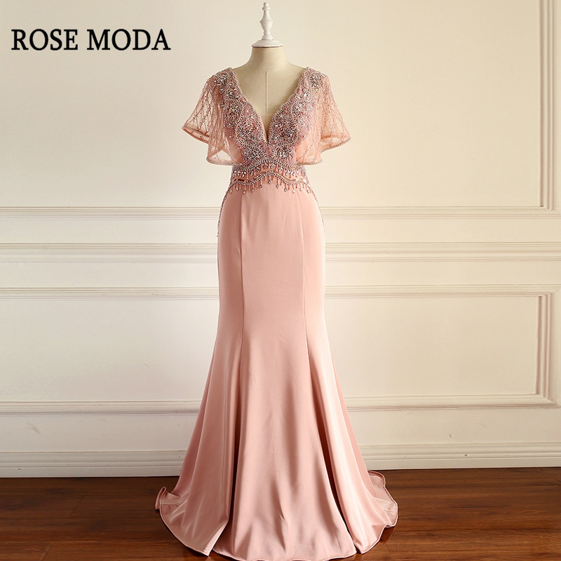 Rose Moda Luxury Crystal Pink Mermaid   Evening     Dresses   2018 Deep V Neck Formal Long   Evening     Dress   with Sleeves