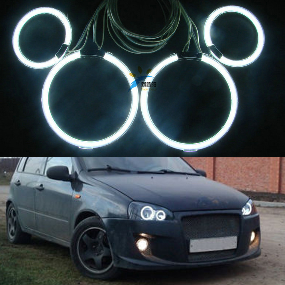 4Pc/Set Excellent Car Optional Headlight CCFL Angel Eyes Halo Ring For Lada Kalina 1119 1118 1117 119 117 2005-2013 Ultra bright