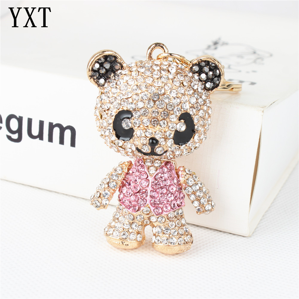 Panda Skirt Pink Arm Head Move Keyring Pendant Rhinestone Crystal Purse Bag Key chain Jewelry Birthday Party Wedding Girl Gift
