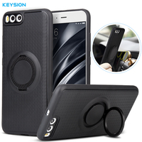 KEYSION Case For Xiaomi Mi6 Car Holder Stand Magnetic Suction Bracket Finger Ring Soft TPU Cover