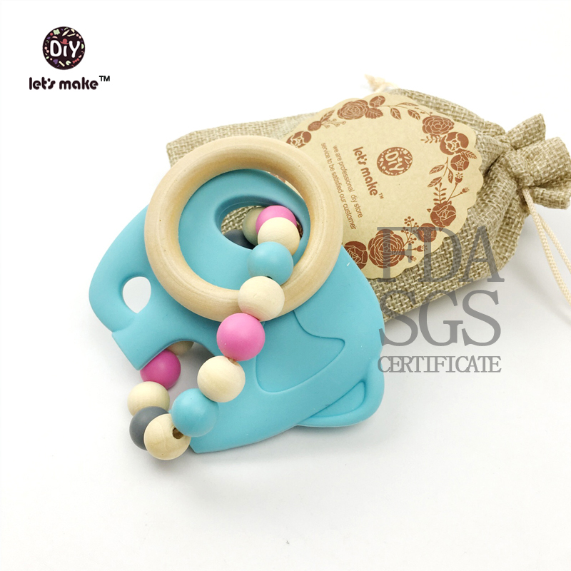 Let's make Silicone Teether Pendant Elephant  Large Elephant Silicone Teething Chew Pendant or Teether Necklace pendant
