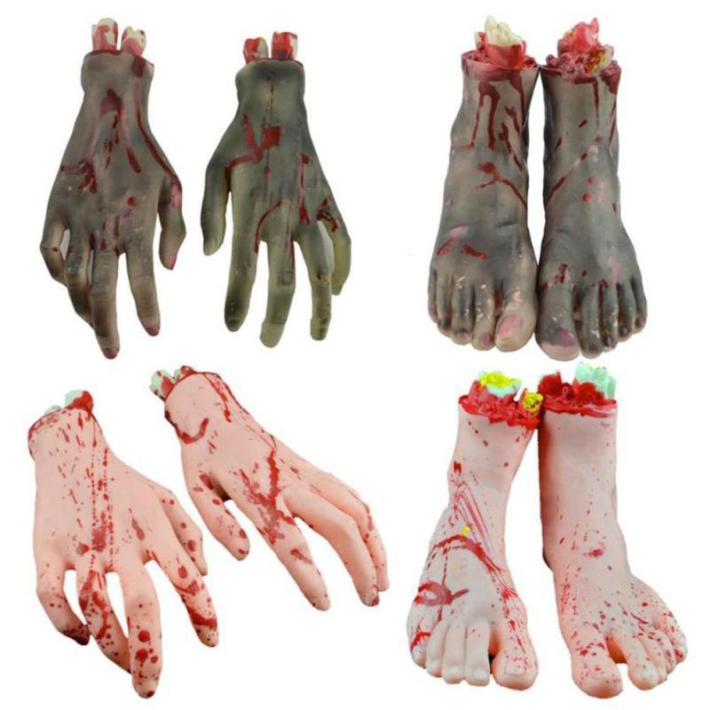 1 Pair Blood Horror Scary Severed Feet Broken Hand Halloween Decoration Broken Latex Bloody Fake Feet Hot Sale A30