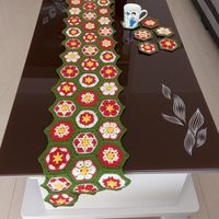 Crocheted Table Runner / Handmade hook Colorful flowers cotton hollow lace / Many Uses Gifts / Fashion Unique style 28*160CM