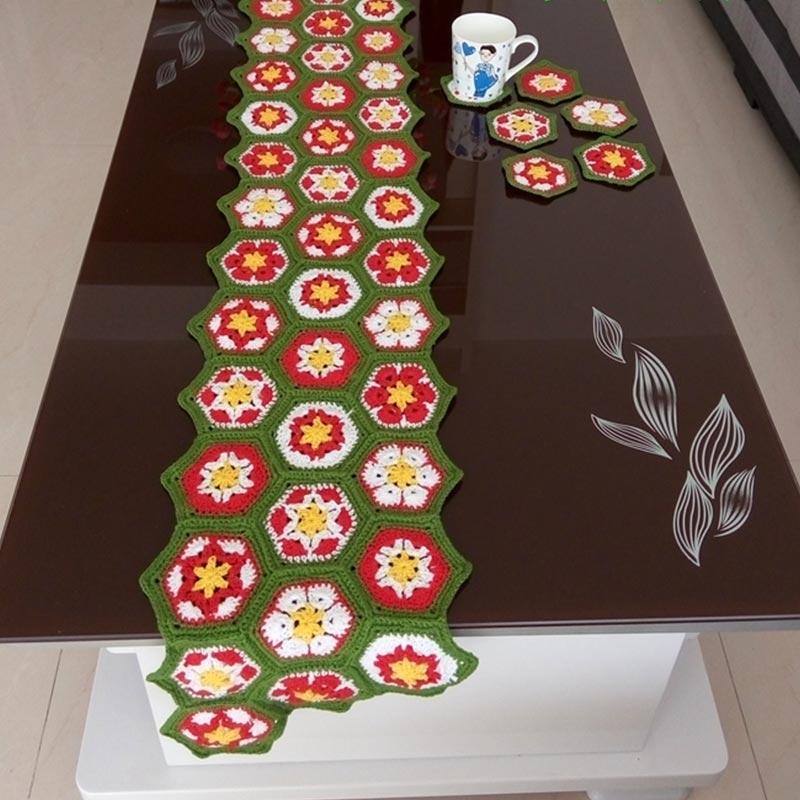 Chemin de Table crocheté/crochet fait main fleurs colorées coton dentelle creuse/nombreux usages cadeaux/mode style Unique 28*160 CM