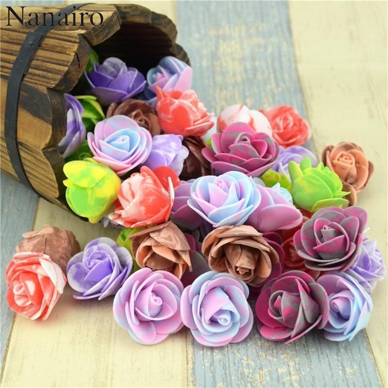 10PCS/lot 3.5cm Mini PE Foam Artificial Rose Flower Head Scrapbooking For DIY Wedding Home Decoration  Handmade Fake Flowers