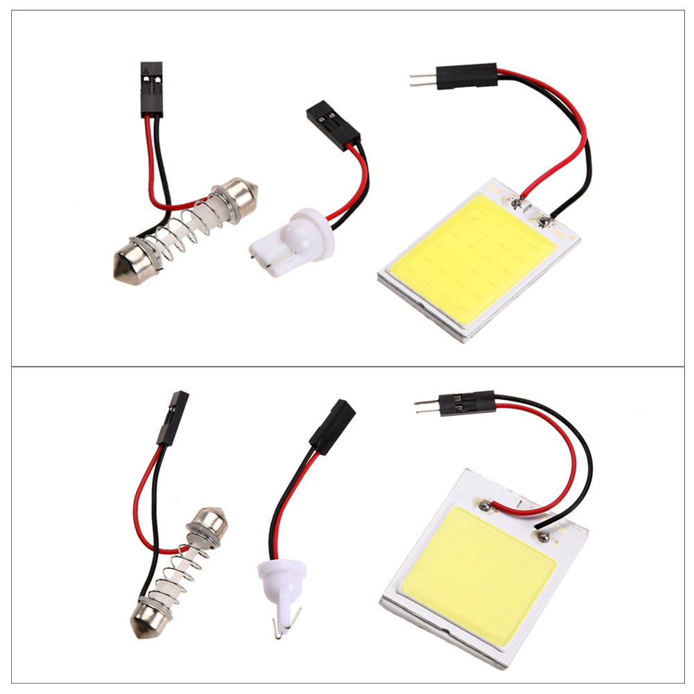 2Pcs/Lot Xenon HID Light Bulb White COB LED Car Dome Map Light Interior LED Panel Lamp 12V 5500K-6000K 24LED/48LED car-styling