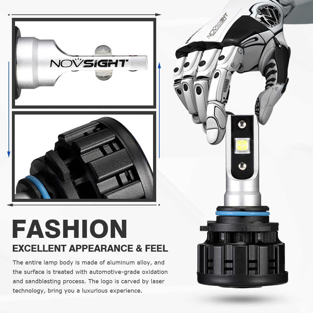 NOVSIGHT Car Headlight Bulbs Fog Lights 6500k White H4 h7 led headlight bulbs 16000lm 12V H1 H11 H8 9005/HB3 9006/HB4 super led