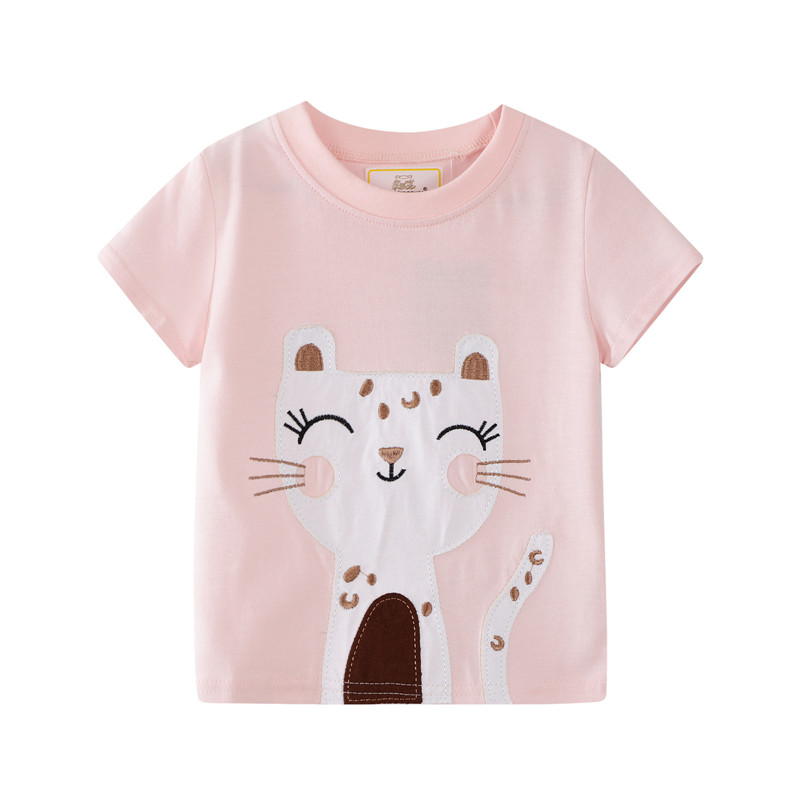 Baby T Shirt Baby Girl Clothes Cartoon Cat Sequins Mesh Bow Baby Girl T Shirt Summer Princess Girl Birthday Clothes,White,5T