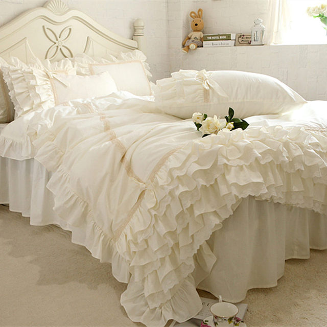 New Embroidery Luxury Bedding Set Beige Lace Cake Layers Ruffle Duvet Cover Quality Fabric Bed Sheet