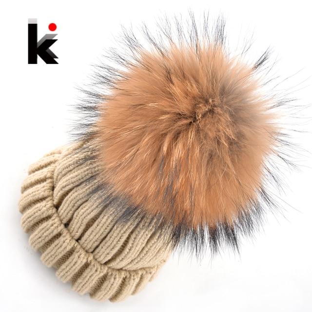 2017 womens Winter Skullies fashion beanie knitted wool hat beanies cap big natural Raccoon Fur Hats for women bonnet