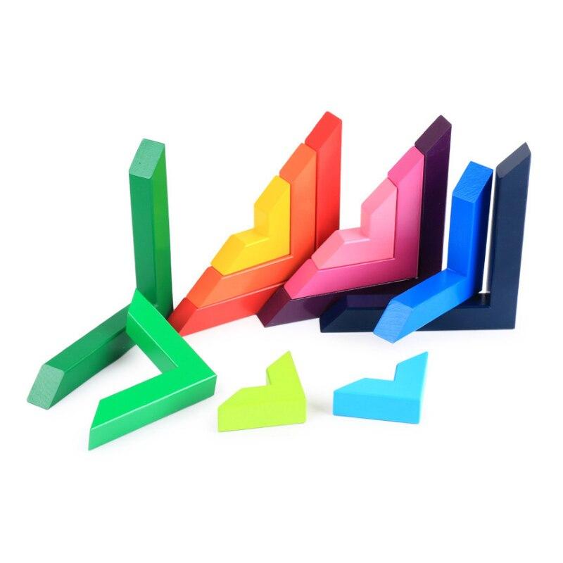 Jeux de Puzzle en bois à Angle droit jouets éducatifs enfants Puzzles colorés jouets en bois pour garçons filles - 3