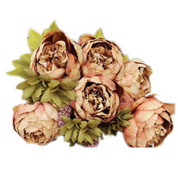 1Bouquet 8 Heads Artificial Peony Silk Flower Leaf Home Wedding Party Decor Brown