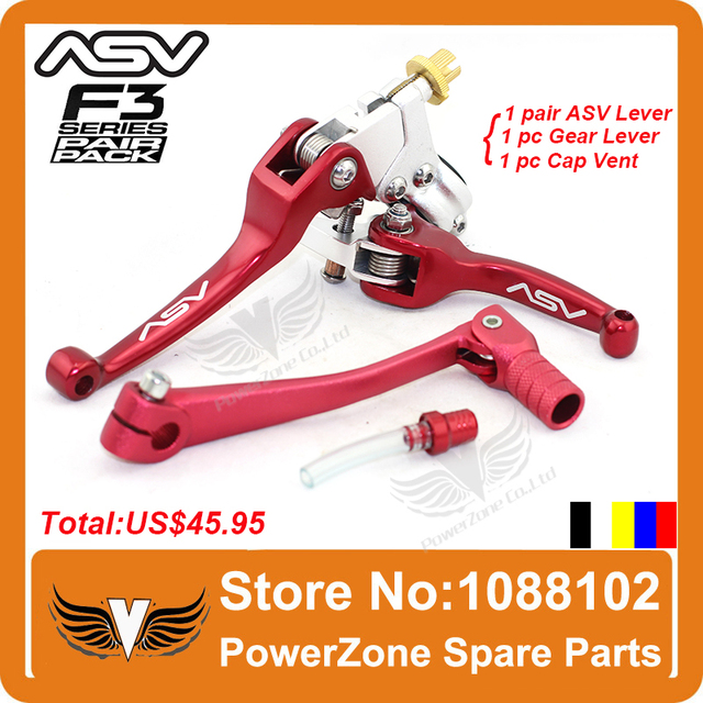Aluminum ASV Clutch and Brake Folding Lever With Gear Lever + Cap Vent Fit Motorcycle Dirt Pit Bike  Motorcross Free Shipping!