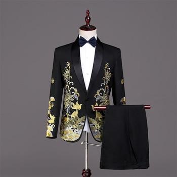 Men's suit men's spring and autumn new business casual suit two-piece suit (jacket + pants + vest) wedding groom groomsmen dress