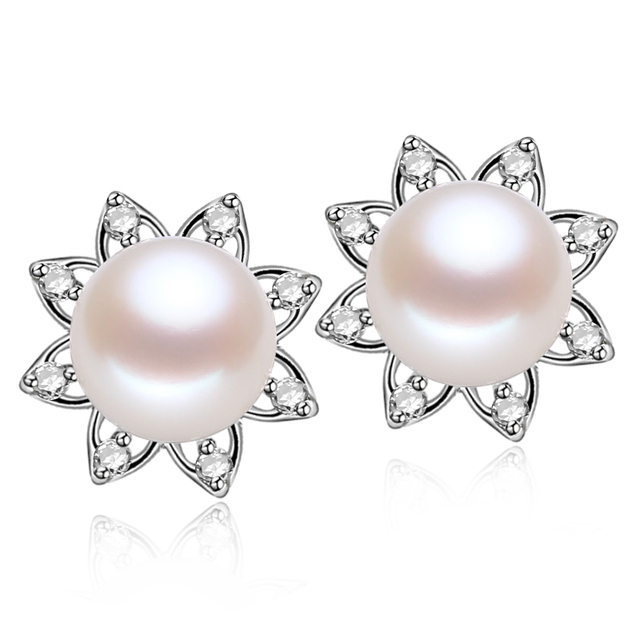 2016 New Style 100% Natural Freshwater Stud Earrings 925 Sterling Silver,Zircon Jewelry For Women Best Gifts Free Shipping