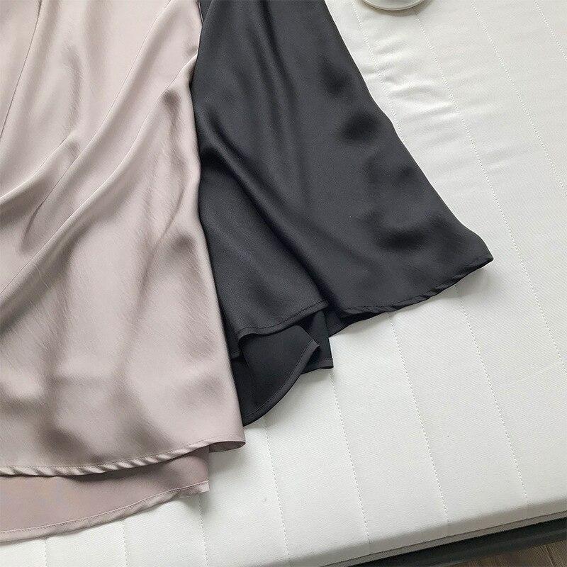 19 Spring Simmer Women High Waist Satin Skirt Metallic Color Long Skirt Shiny Silk Imitation Midi Skirt 18