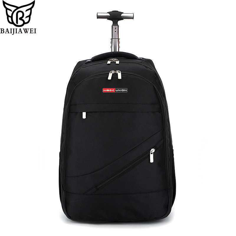 BAIJIAWEI Men's Trolley Backpack Business Travel Bag Large Capacity Waterproof Duffle Bag Laptop Luggage Backpacks