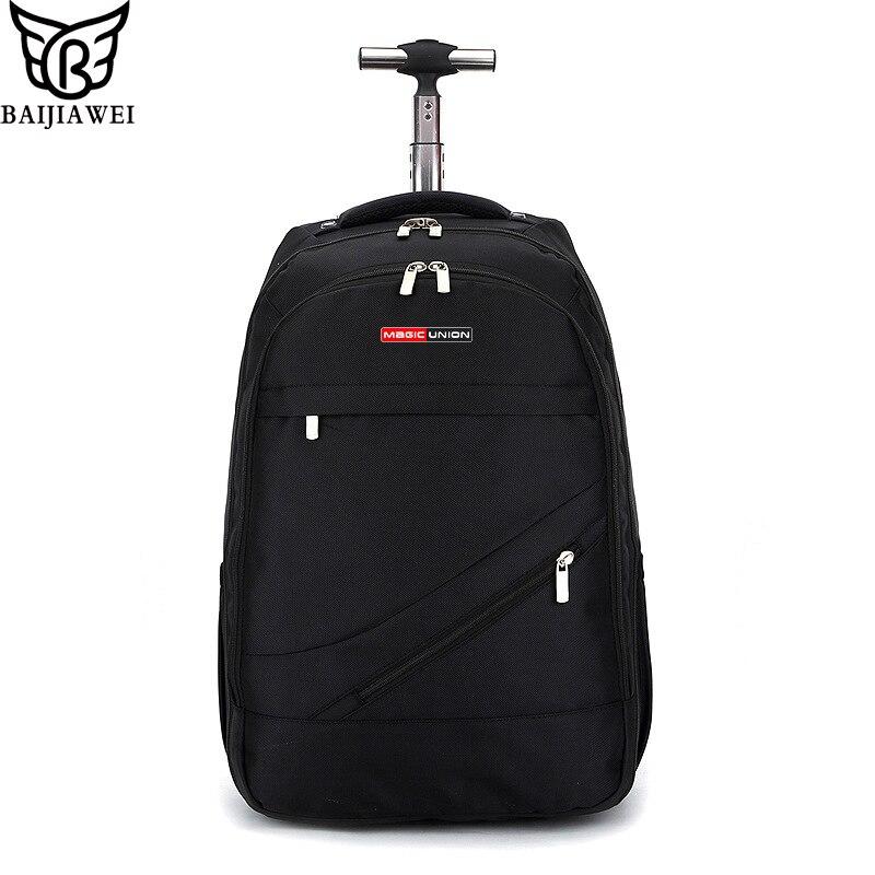BAIJIAWEI Carrinho Mochila Saco de Viagem de Negócios dos homens Duffle Bag Bagagem Laptop Mochilas de Grande Capacidade À Prova D' Água