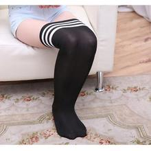 47c10f0d5 5 pairs lot Striped Knee Socks Women Cotton Thigh High Over The Knee  Stockings