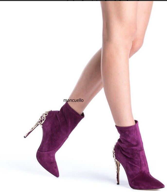 Irresistible Purple Suede Pointed Toe Stiletto Heel Short Boots Pretty Women Metal Branch Shape Thin High Heel Ankle Boots New glamorous black suede thin high heels butterfly short boots classy women pointed toe stiletto heel ankle boots trendy shoes