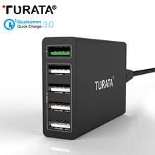 Turata 5 Ports Micro USB Quick Charger 3.0 5V/10A 50W Fast Charging Wall Universal Power IQ Mobile Phone Desktop EU US UK Plug