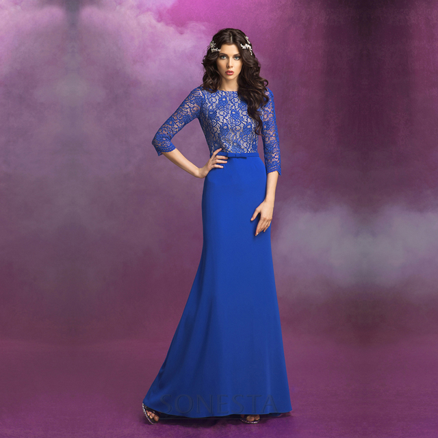 Robe de Soiree Frauen Lange Abendkleider Königsblau Meerjungfrau ...