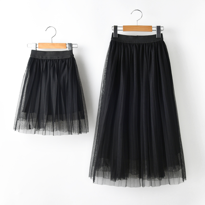 Mom Girls long tulle Tutu Skirt Mother and Me Matching Clothes solid Ruffle New Summer kids skirts children pettiskirt