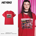 emergency exit Asian youth Hip hop T-shirts Red Cotton Tee Big Yard streetwear men and women Couple shirts Chinese size