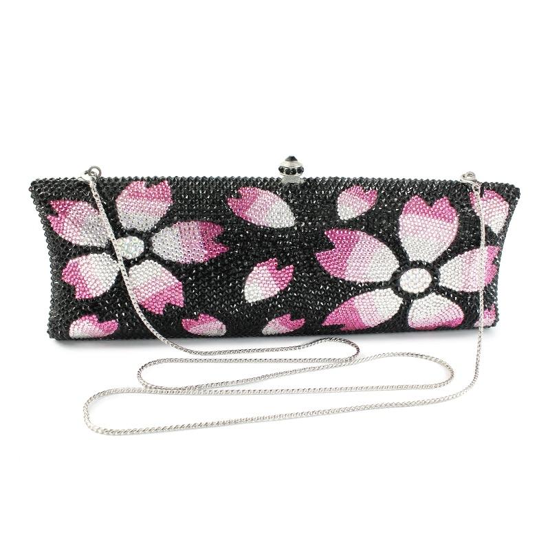 2017 women bag hot hand evening bags new the sliver chain pattern flowers wedding dinner bags Free Shipping (B1008-BPF)