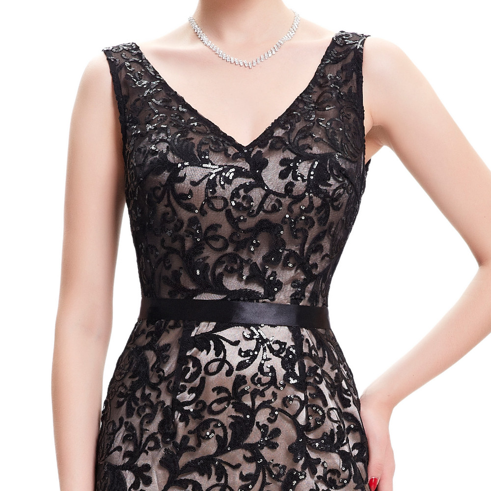 Double V Neck Beaded Lace Mother Of The Bride Black Dress