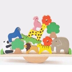 Brinquedos do bebê bonito floresta animal gangorra blocos de construção equilíbrio madeira brinquedos para crianças criativo montagem brinquedos educativos