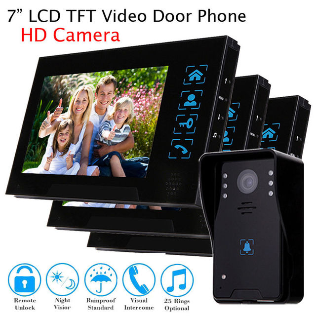 "Free shipping!7"" Wired Video Doorbell Home Intercom Door Phone Kit HD Camera+ 3Monitor System"