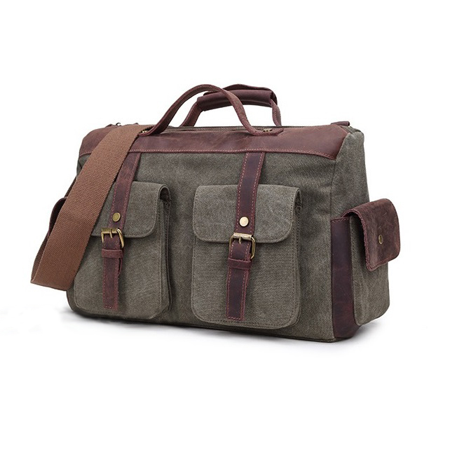 Vintage Canvas Leather Men's Travel Bags Carry on Luggage Bags Men Duffel Bags Travel Tote Large Weekend Bag Overnight vintage military canvas crazy horse men travel bags carry on luggage bags men duffel bag travel tote large weekend bag overnight