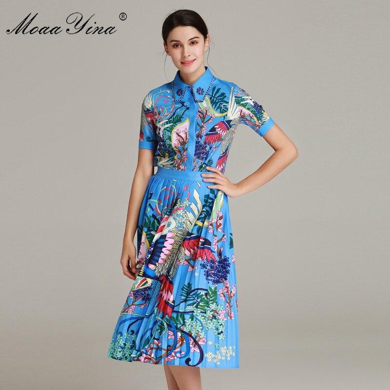 Kadın Giyim'ten Kadın Setleri'de MoaaYina Moda Tasarımcısı Seti Yaz Kadın Kısa kollu Yağmur Ormanı Çiçek Baskı Boncuk Gömlek Tops + Pilili Etek Iki parça takım elbise'da  Grup 1