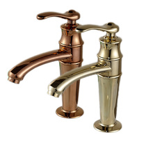 Free Shipping Deck Mounted Hot and Cold Water Faucet Single Handle Basin Mixer Taps Golden Rose