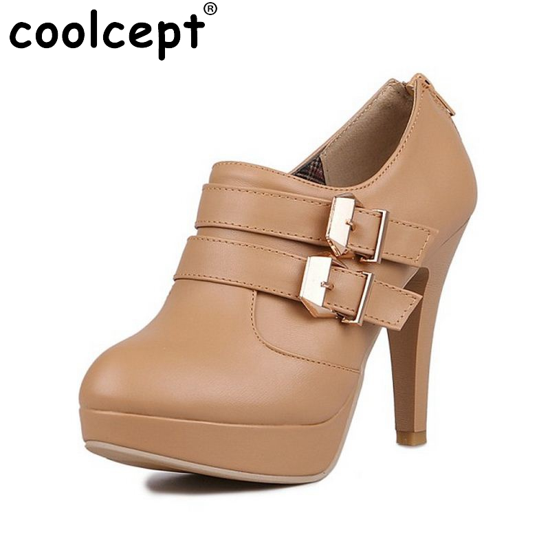 Coolcept Women High Heel Ankle Boots Platform Winter Warm Botas Boot Buckle Round Toe Brand Sexy Footwear Heels Shoes Size34-43 women buckle ankle boots winter fur warm high heels boots for women fashion pointed toe chunky heel boot pu leather shoes