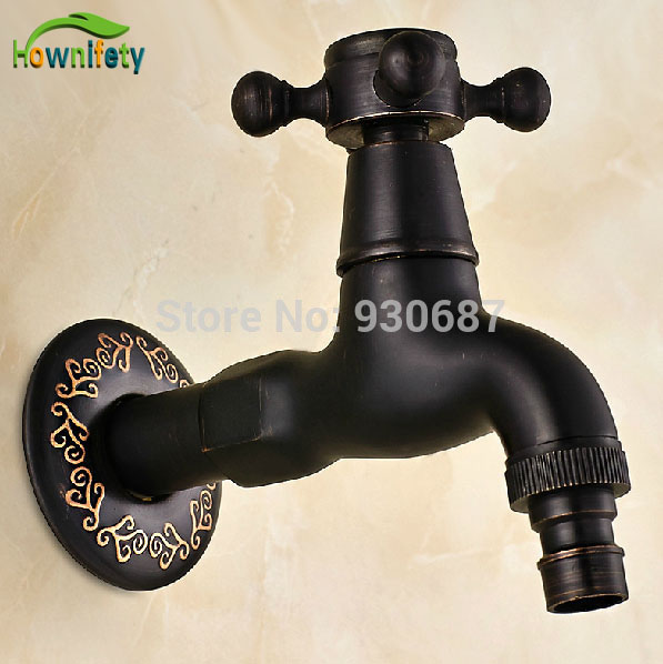 Retro Oil Rubbed Bronze Bath Solid Brass Wall Mounted Washing Machine Faucet
