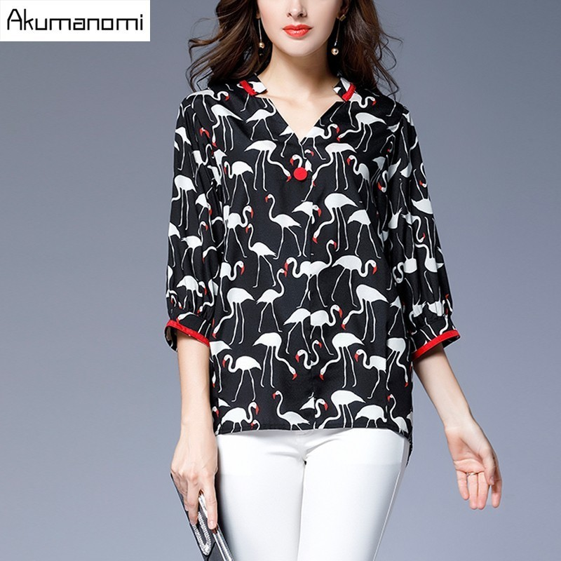 Koszula szyfonowa Bluzka V Neck Trzy Kwartał Rękaw Zwierząt Drukuj Nowy wiosna Jesień Kobiety Odzież Plus Rozmiar 5XL 4XL 3XL 2XL XL L