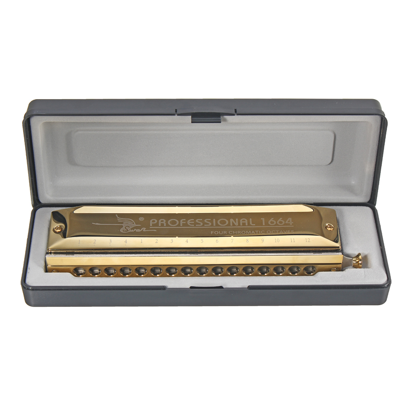 Swan 16 Holes 64 Tones Gold Color Laser Proceeded Square High-end Chromatic Harmonica Musical Instrument Swan Harps Accessories