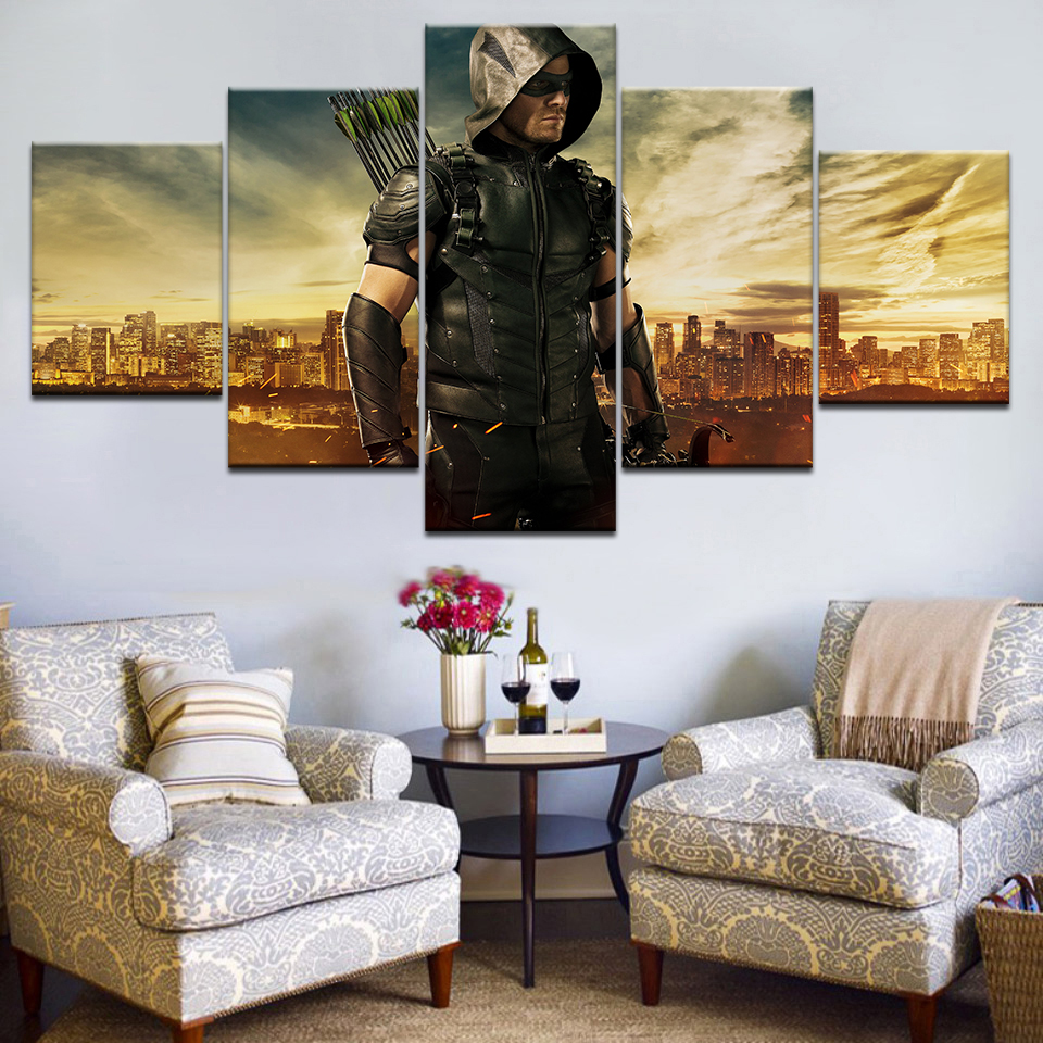 5Piece Home Decor Canvas Painting Wall Art Pictures For Living Room Green Arrow Man TV Series Print Decor Wall Poster Frame