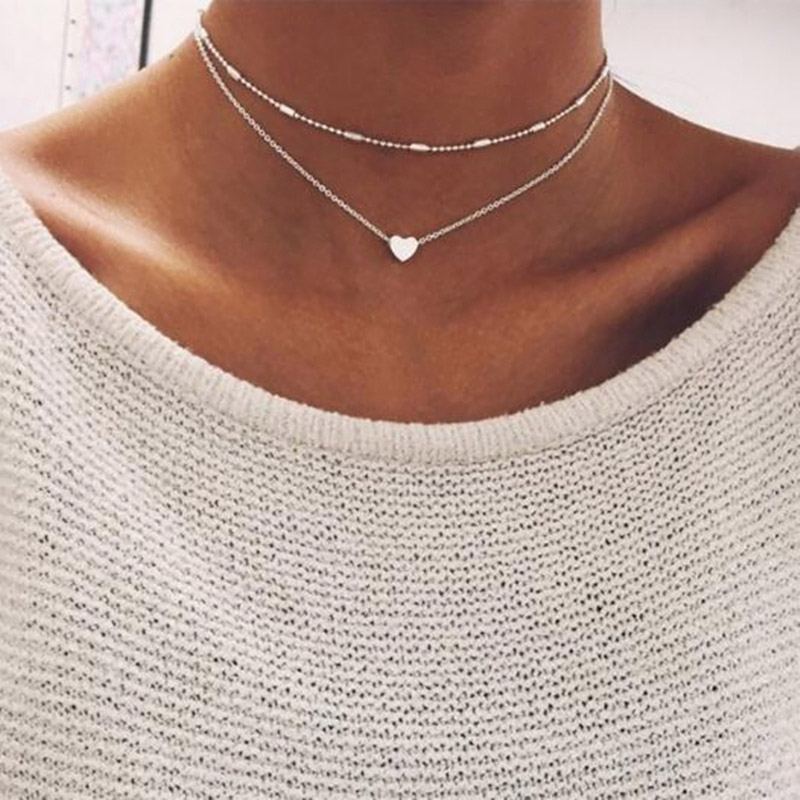 Купить женское двухъярусное ожерелье брендовое с двойным рогатым сердцем
