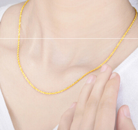 Solid 999 Yellow Gold Necklace / Double O wire strand Chain Water corrugated clavicle Necklaces / 5.67g 48cm