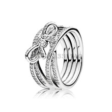 2016 Mother's Collection Delicate Sentiments Silver Rings with Clear CZ 100% 925 Sterling Silver Ring Jewelry DIY Wholesale