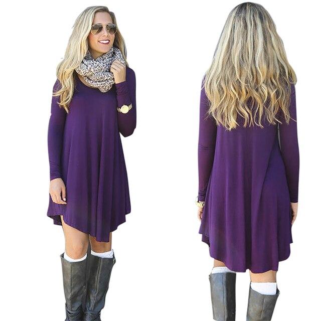 Clothes Vestidos Women 2018 New Design Autumn Winter Dress Female Cotton  O-neck Long Sleeve 109e8548b9bf
