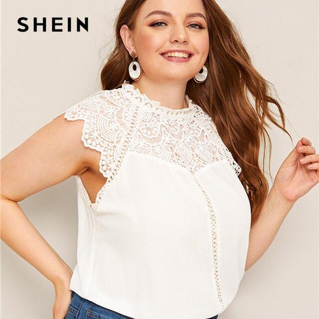 SHEIN Plus Size White Mock-Neck Guipure Lace Yoke Top Blouse 2019 Women Summer Elegant Contrast Lace Cap Sleeve Button Blouses 1