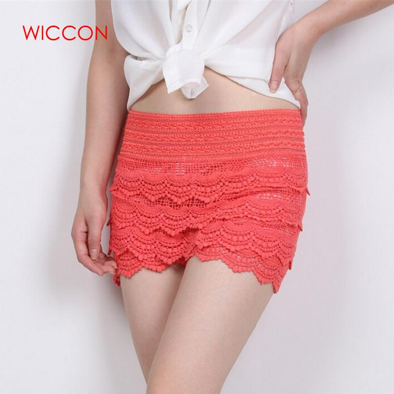 2020 New Women Summer Shorts Fashion Cotton Crochet  Mercerized Lining Mini Lace Tiered Solid Shorts Hot Selling