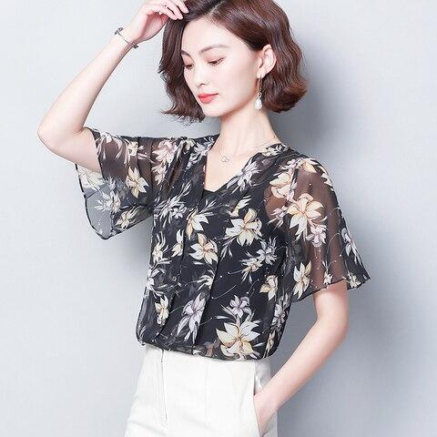 2019 Fashion Women Chiffon Blouse Top Femme Print Shirt Mujer V-neck Summer Womens Shirts Flare Sleeve Elegant Feminine Blouses Islamabad
