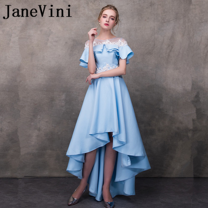 JaneVini High Low Long   Bridesmaid     Dresses   for Weddings Beading Princess Lace Applique Sheer Neck Floor Length Girls Formal Gowns