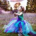 2 Pcs Party Kids Baby Girl Dress Green Mermaid Tops Bodysuit+Handmade Colorful Fairy Tulle Tutu Skirts Outfits Set 2-7Y